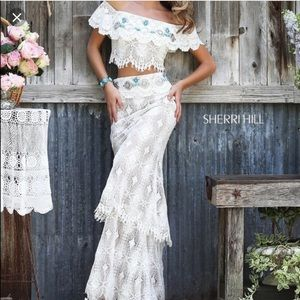 Sherri Hill style 32230 white lace two piece gown